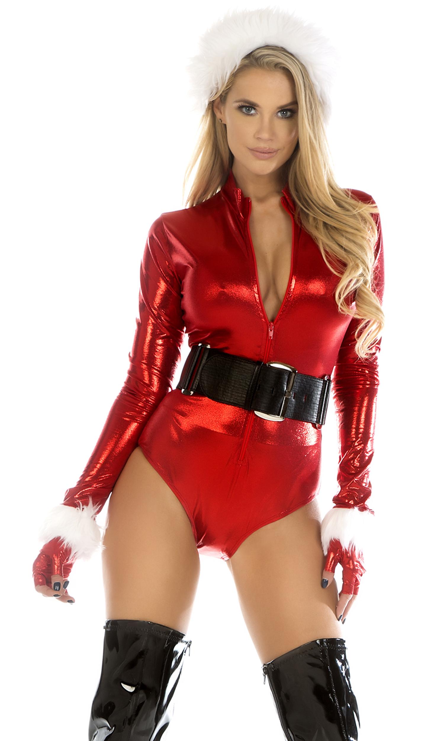 sexy santa costume cinnamon spice metallic santa bodysuit