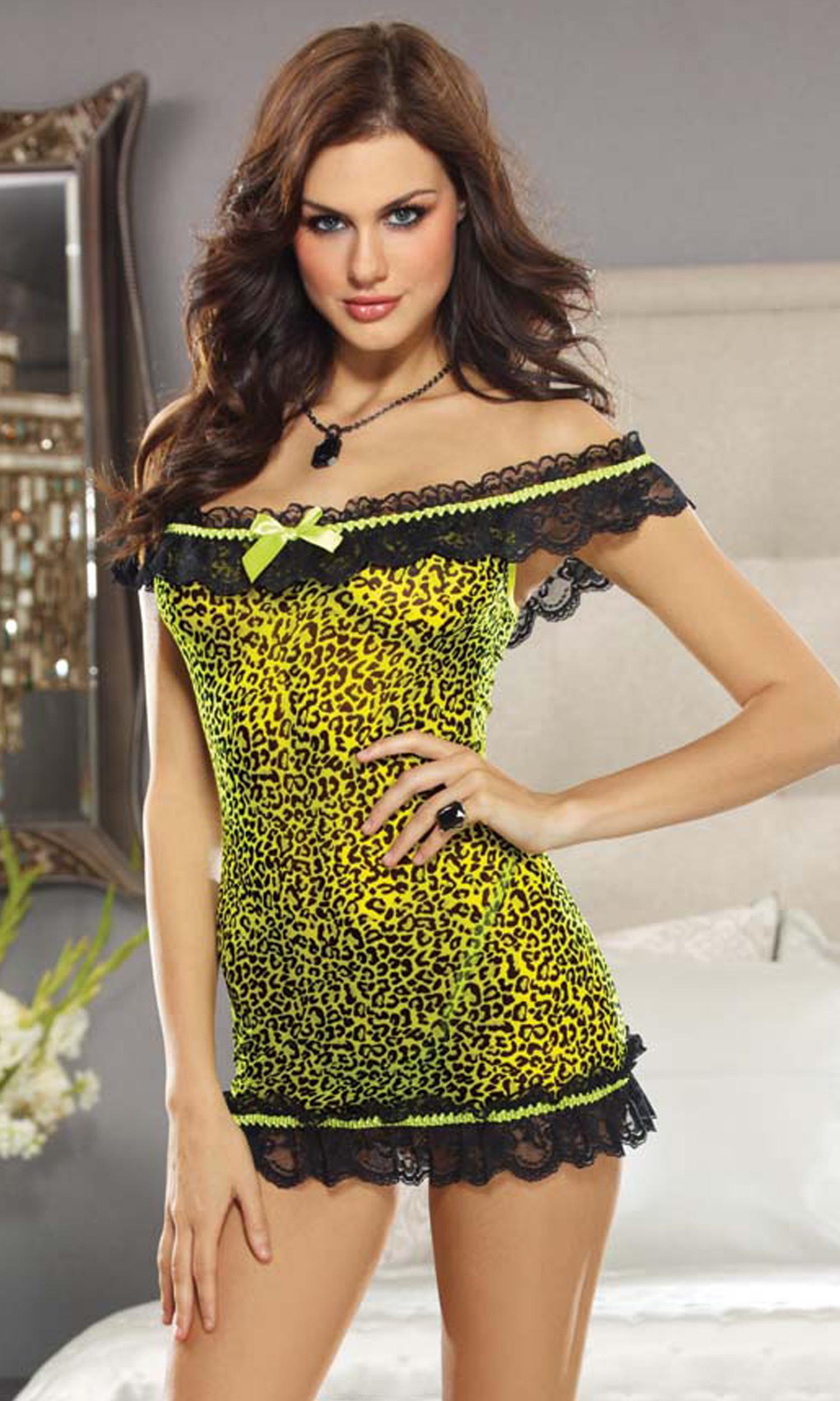 شورت زنانه تحریک کننده Leopard Print Stretch Mesh Chemise