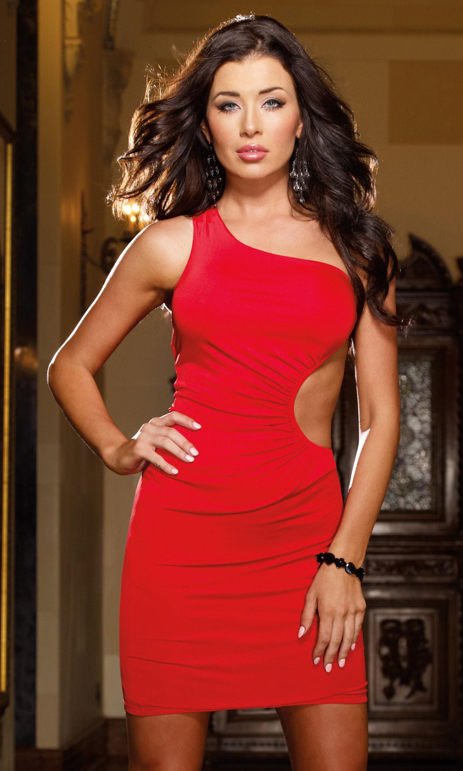 Dresses Lingerie Slinky Jersey One Shoulder Dress With