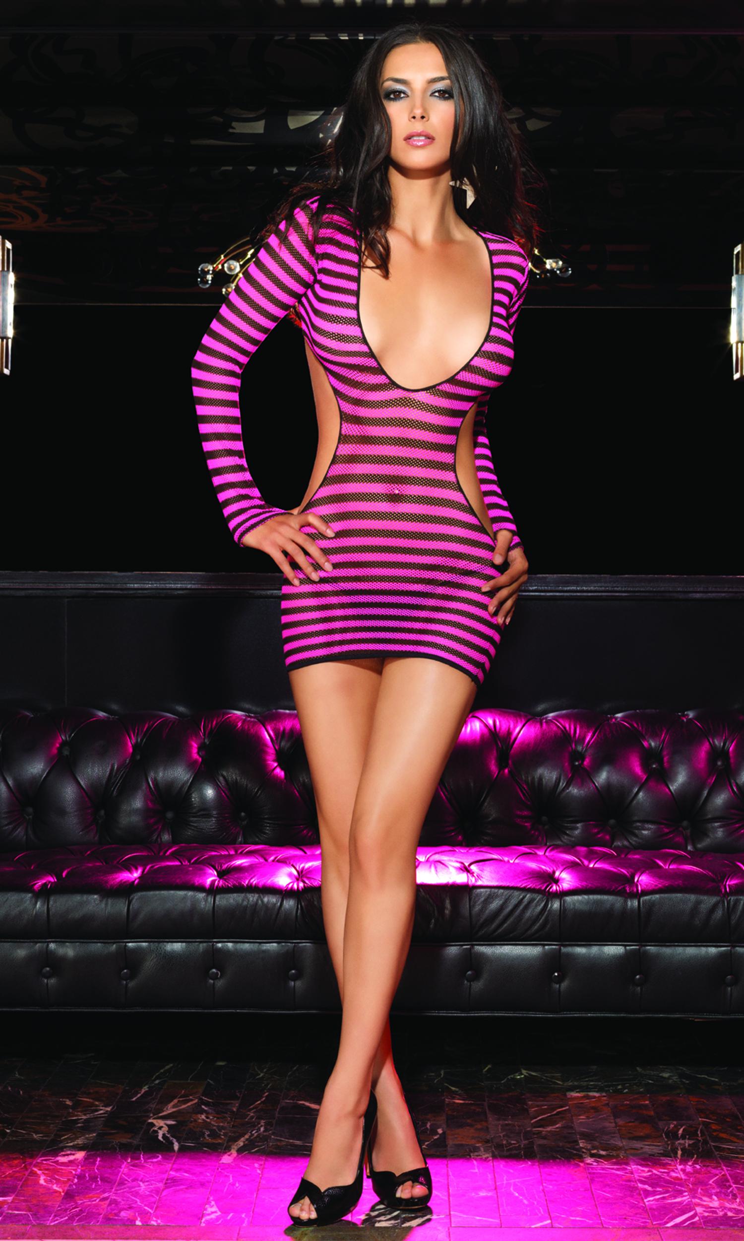 2pc Striped Fishnet Mini Dress With G String