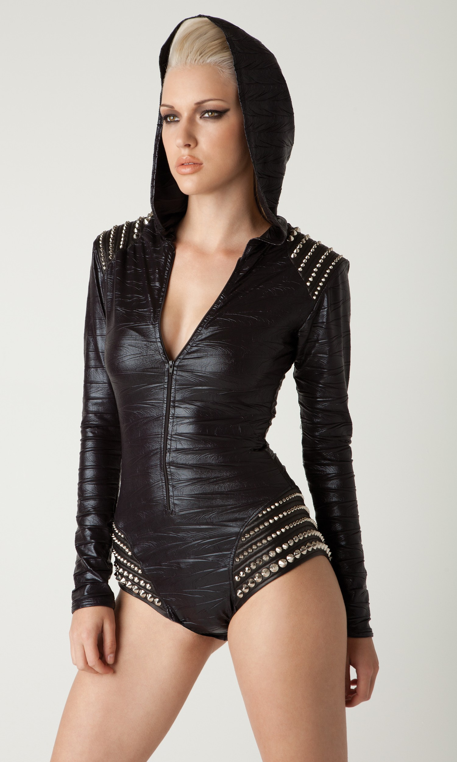 Hooded bodysuit with leather studded shoulder by l a roxx