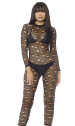 Pain Distressed Fishnet Catsuit