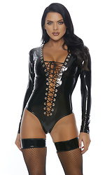 Dark Desires Plunging Lace-Up Bodysuit