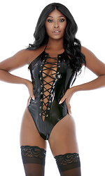 Laced Be Honest Vinyl Lace-Up Teddy