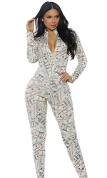 Zipfront Money Print Catsuit by Forplay