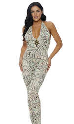 Money Print Jumpsuit with Adjustable Haltered Tie