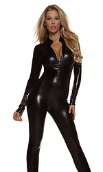 Metallic Mock Neck Zipfront Sexy Catsuit