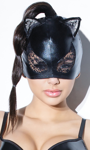 Cat Mask With Lace Eyes And Ears