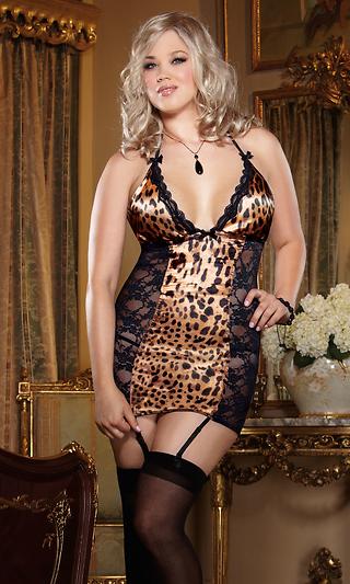 9cd3d3da6 Plus Size Leopard Print Satin and Lace Chemise
