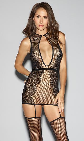 7b67fb5d01d Black Fishnet and Lace Garter Dress