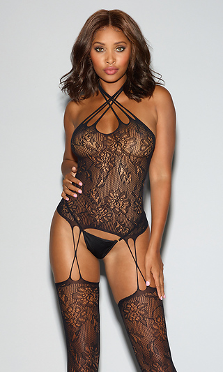 21877b4c8d Strappy Black Lace Bustier Bodystocking