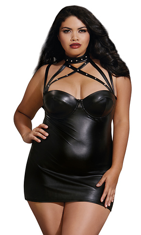 Plus Size Faux-Leather Dress with Spiked Collar