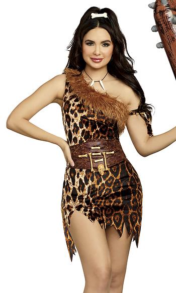 Clubbin Cutie Leopard Cavewoman Costume Dress