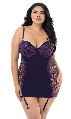 Plus Size Velvet Lace Garter Slip Dress bb9486a85