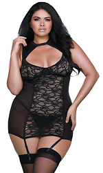 Plus Size Stretch Lace and Mesh High Neck Garter Slip