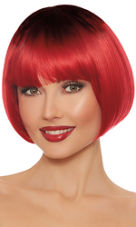 Dip Dye Red and Black Short Bob Wig
