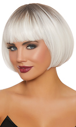 Dip Dye White and Gray Short Bob Wig