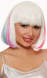 Mid-Length Hidden White and Neon Rainbow Bob Wig