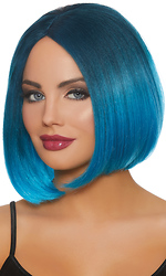 Mid-Length Steel Blue and Bright Blue Ombr? Bob Wig