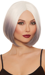 Mid-Length White and Gray Ombr? Bob Wig
