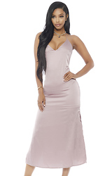 Hide And Sleek Satin Midi Dress