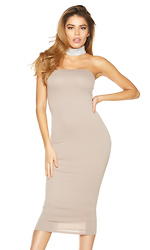 Taupe Of The Line Midi Dress