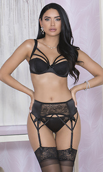 Satin and Lace Thong With Satin Bow Accents