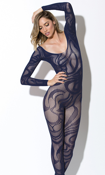 Long Sleeve Large Scale Swirl Pattern Bodystocking