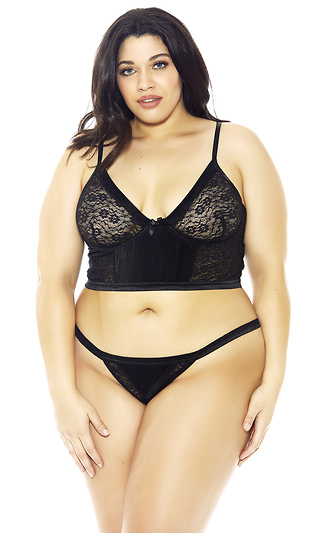 Pleated Satin and Lace Bra Set bcab03845