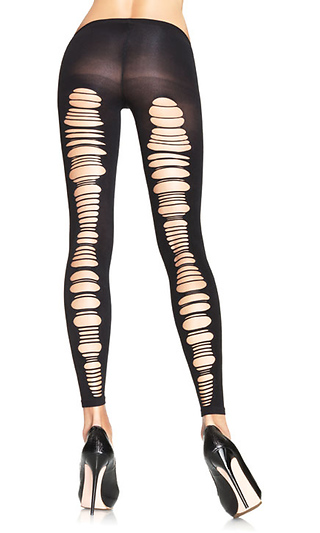 5eec429894cc9 Spandex Shredded Back Opaque Footless Tights