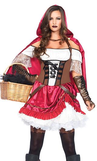 e7a3b2041 Rebel Riding Hood Sexy Costume, Pick-up Peasant Dress, Hooded Cape