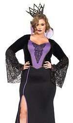 2PC. Evil Queen Sexy Costume, High Slit Dress with Lace Sleeves, Crown Headband