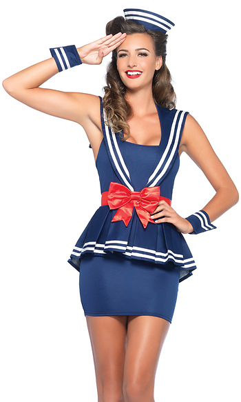 Aye Aye Amy Sexy Sailor Costume Peplum Sailor Dress Bow Belt Wrist Cuffs Hat  sc 1 st  ForPlay Catalog : secy sailor costume  - Germanpascual.Com