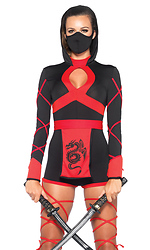 3PC. Dragon Ninja Sexy Costume, Hooded Romper, Waist Sash, and Face Mask