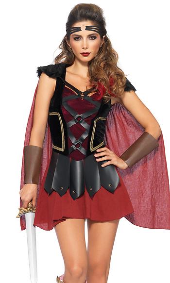 4pc Trojan Warrior Sexy Costume Dress Faux Fur Shoulder