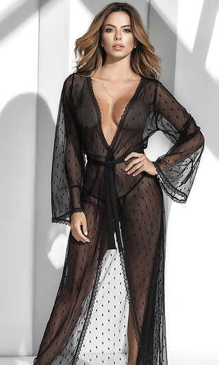 18224a096086 Long Lace Robe with Matching G-String