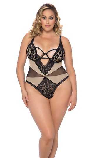 672c31e6474 Plus Size Lace And Mesh Molded Cup Teddy With Snap Crotch And Cut-Out  Detail ...