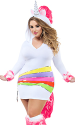 Plus Rainbow Unicorn Sexy Costume