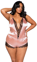 Elegant Eyelash Lace and Satin Romper